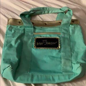 "Betsy Johnson Mint Cotton bag purse 11 x 9 x 2"""